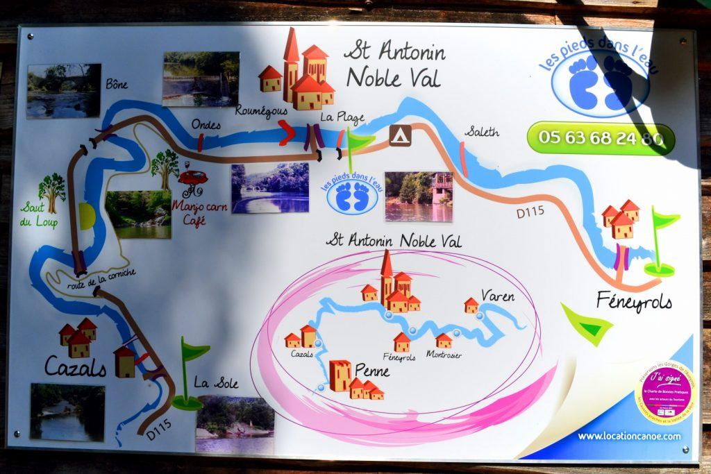 Carte de la rivière, les pieds dans l'eau ,location de canoe kayak dans les Gorges de l'Aveyron à Saint Antonin Noble Val